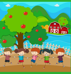 happy kids playing in the apple orchard vector image
