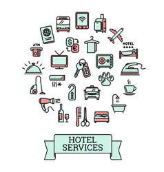 hotel services - set of 25 color outline icons vector image vector image