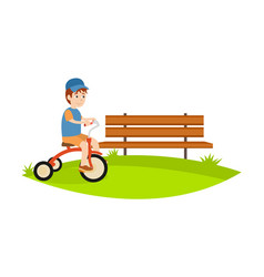 little boy in park riding bike relax have fun vector image vector image