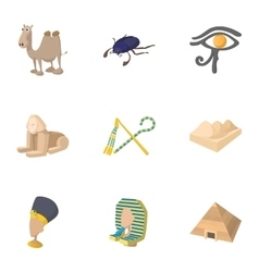 Tourism in Egypt icons set cartoon style vector image