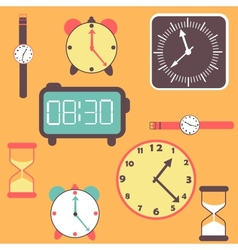 background with clocks and watches vector image vector image