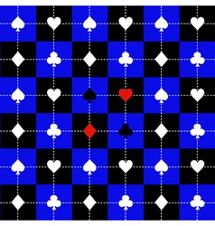 Card Suits Blue Black Chess Board Background vector image