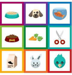 flat icon pets set of fishbowl shears dog food vector image vector image