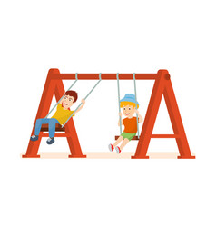 guys having fun ride on swing an amusement park vector image