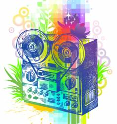 hand drawn tape recorder vector image vector image