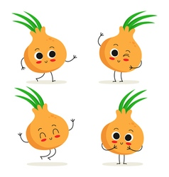 Onion Cute vegetable character set isolated on vector image