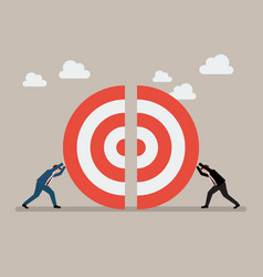 two businessmen pushing a pieces of big target vector image vector image