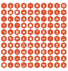 100 beverage icons hexagon orange vector