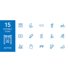 15 active icons vector image