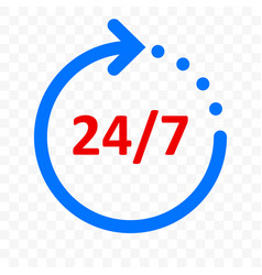 24 7 arrow icon customer support delivery and 24 vector image