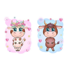 a cute cartoon couple cow and bull in flowers vector image