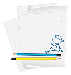 A paper with a drawing of a boy vector image