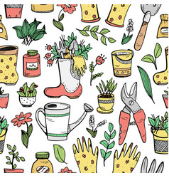 A seamless pattern with doodles about farming vector