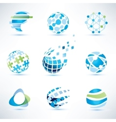abstract globe symbol setcommunication and vector image