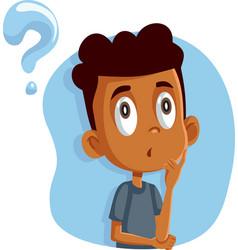African boy having many questions cartoon vector