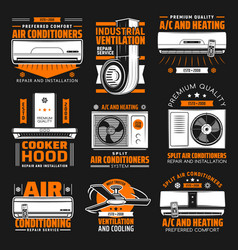 Air conditioning ventilation service emblems vector
