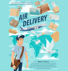 Air mail delivery mailman and airplane vector