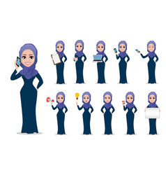 arabic business woman cartoon character set vector image vector image