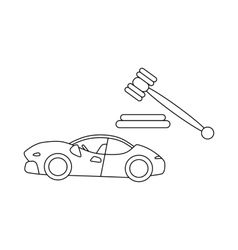 Auction cars icon outline style vector image