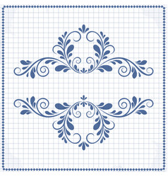 Background of a notebook with a patterned frame vector