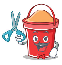 barber bucket character cartoon style vector image