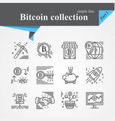 bitcoin outline icon set vector image
