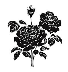 Black silhouette rose vector