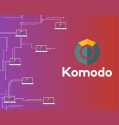 Blockchain komodo symbol circuit network vector