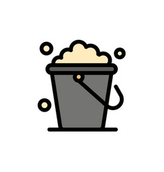 Bucket cleaning floor home flat color icon icon vector