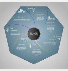 Business infographics geometry heptagon design vector