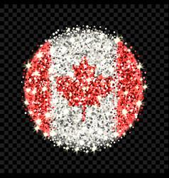canada flag sparkling badge vector image