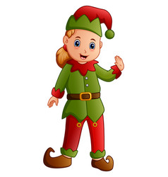 cartoon happy christmas elf vector image