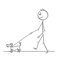 Cartoon of man walking with small dog vector