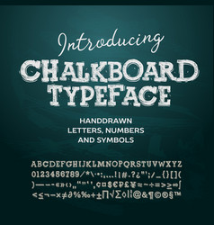 Chalkboard typeface letters and numbers vector