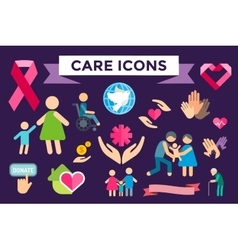 Charity care flat icons set vector