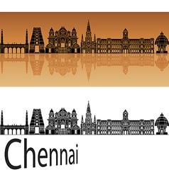 Chennai skyline in orange vector image