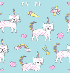 childish seamless pattern with cute cats unicorn vector image