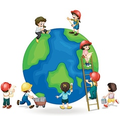 Children fixing and painting the globe vector