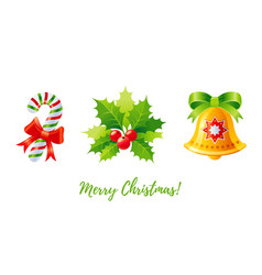 christmas icon set holly mistletoe jingle bell vector image