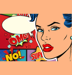 close-up beautiful face pop art woman vector image
