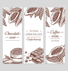 Cocoa and chocolate banners sketch cacao vector