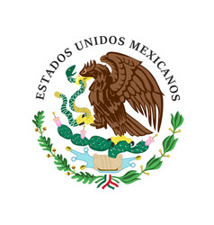 colored coat arms mexico vector image