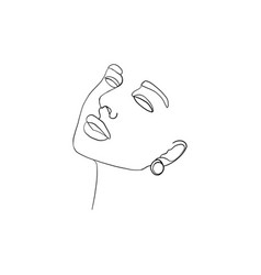 continuous line drawing beauty woman face vector image