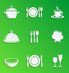 Cooking and kitchen restaurant menu icons vector image