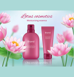 cosmetic ads placard beautiful lotus flowers vector image
