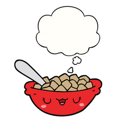 Cute cartoon bowl cereal and thought bubble vector