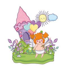 cute cupid chubby girl vector image