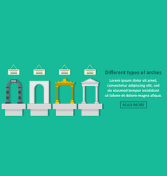 Different types of arches banner horizontal vector