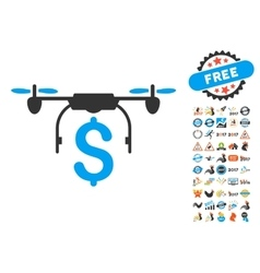 Drone Business Icon With 2017 Year Bonus vector
