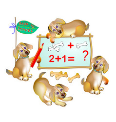 Fantasy for kids cute little puppies learning vector